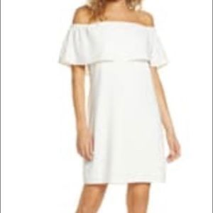 White Charles Henry Off The Shoulder Dress